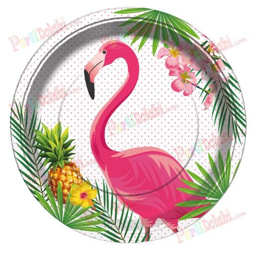 8 Adet Flamingo 23 cm Doğum Günü Parti Tabağı