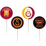 8 Adet Galatasaray Sunum Kürdanı Sarı Kırmızı Gs Cupcake Süsleme