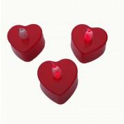 8 Adet Kırmızı Kalp Küçük Boy Işıklı Pilli Led Mum