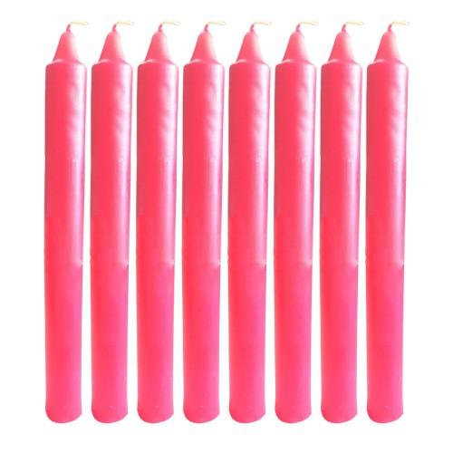 8 Adet Kırmızı Şamdan Mum 20cm Sevgiliye Sürpriz