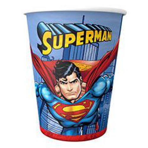 8 Adet Superman Bardak, Süperman 220cc Doğum Günü Parti Malzemesi