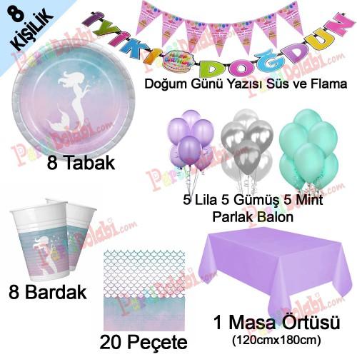 8 Kişi Deniz Kızı Ariel Temalı Doğum Günü Parti Seti Paketi