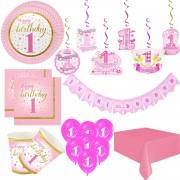 8 Kişi Lüks Pembe 1 Yaş Kız Doğum günü Parti Malzemeleri Paketi
