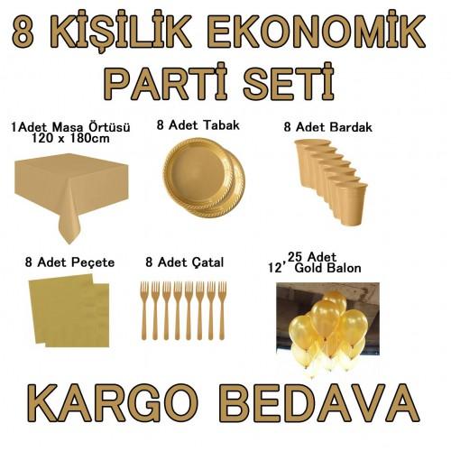 8 Kişilik 6 Parça Altın Sarısı Gold Parti Malzemeleri Seti Konsept Ürünleri