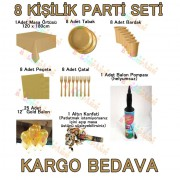 8 Kişilik 8 Parça Altın Sarısı Gold Standart Parti Süs Seti Konsept Ürünleri