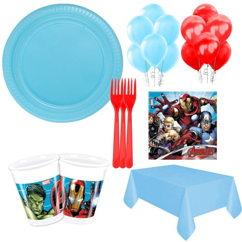 8 Kişilik Avengers Parti Paketi Malzemesi Tabak Bardak Çatal Seti