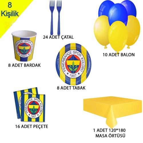8 Kişilik Fenerbahçe Temalı Doğum Günü Parti Malzemeleri Seti