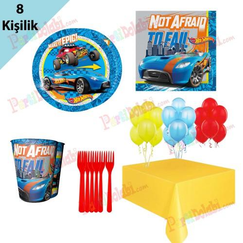 8 Kişilik Hot Wheels Doğum Günü Teması, Tabak Bardak Süslemeleri