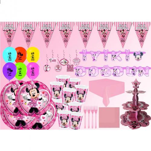 8 Kişilik Minnie Mouse Konseptli Doğum Günü Seti Süsleme Paketi