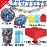 8 Kişilik Superman Temalı Doğum Günü Konsept Paketi Süpermen Seti