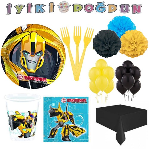 8 Kişilik Transformers Doğum Günü Parti Paketi Bumblebee Ürünleri