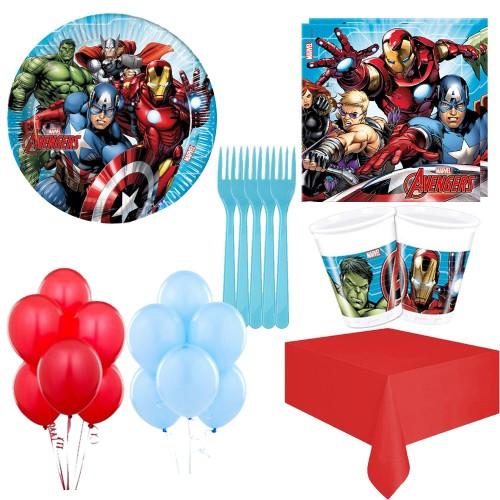 8 Kişilik Yenilmezler Parti Paketi Avengers Tabak Bardak Çatal vb