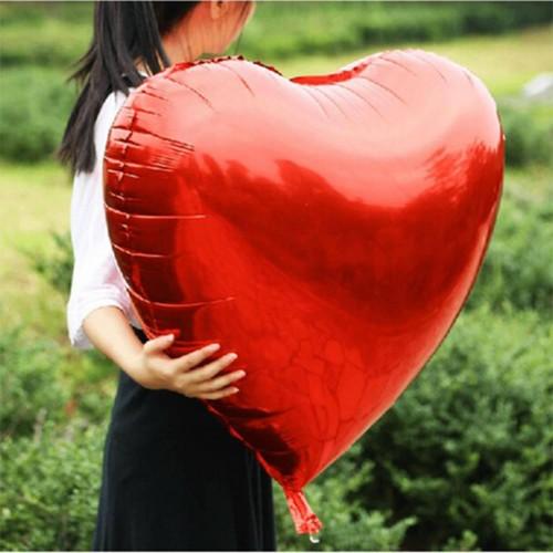 80cm Jumbo Kalp Folyo Balonu Kırmızı Baskısız Helyumla Uçan