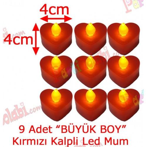 9 Adet 4x4cm Işıklı Kalp Mum Görünümlü, Kırmızı Led Mum