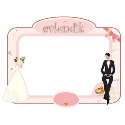 90x70cm Pembe Düğün Gelin Damat Desenli Hatıra Fotoğraf Çerçevesi