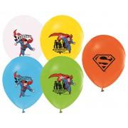 12 Adet Superman Doğum Günü Teması Balonu, Helyumla Uçan