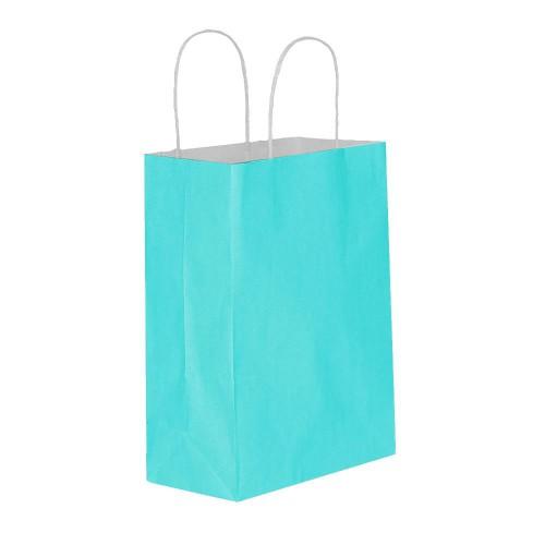 25 Adet Açık Mavi Baskısız Hediyelik Kraft Kağıt İp Saplı Çanta