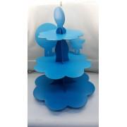 Açık Mavi Cupcake Standı, 3 Katlı Karton Kek Asansörü