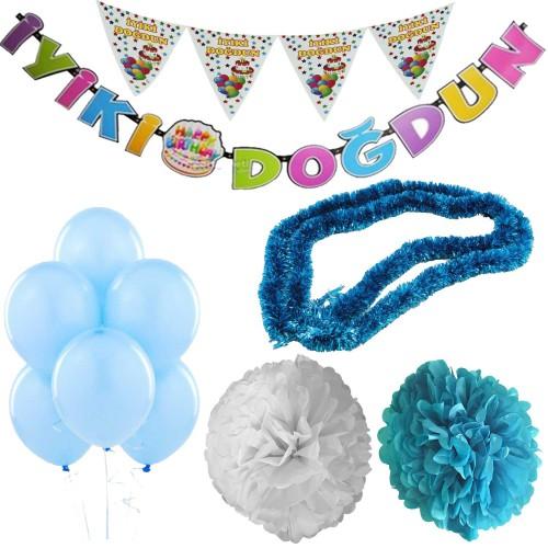 Açık Mavi Erkek Çocuk Bebek Doğum Günü Parti Süsleri Malzeme Seti