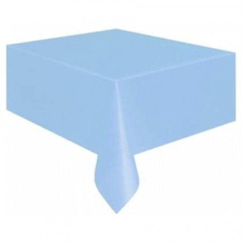 Açık Mavi Plastik Masa Örtüsü, Doğum Günü Partisi 120x180 Naylon