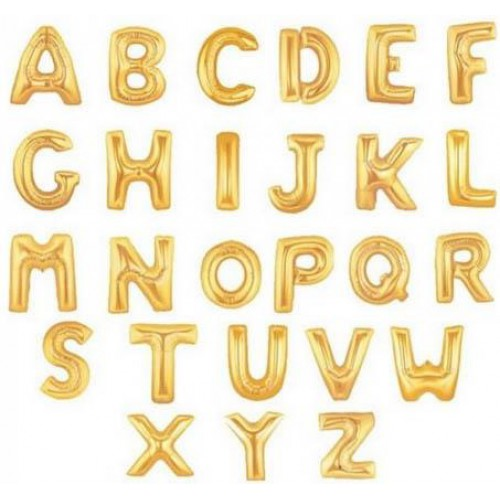 Altın Sarısı Gold İsim Balonu, 100 CM Helyumla Uçan HARF: