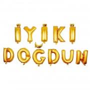 Altın Sarısı İyi ki Doğdun Yazan 11 Harf Balon Set.
