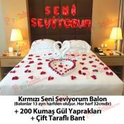 Aşk Paketi: Seni Seviyorum Balon+Gül Yaprakları+Çift Taraflı Bant