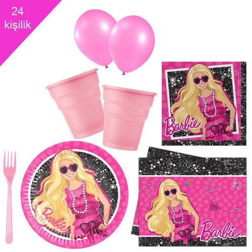 Barbie 24 Kişilik 12 Parça Doğum Günü Seti malzemeleri