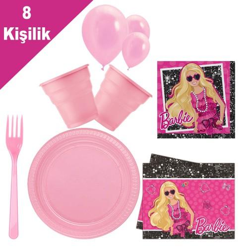 Barbie 8 Kişilik 6 Parça Doğum Günü Seti malzemeleri