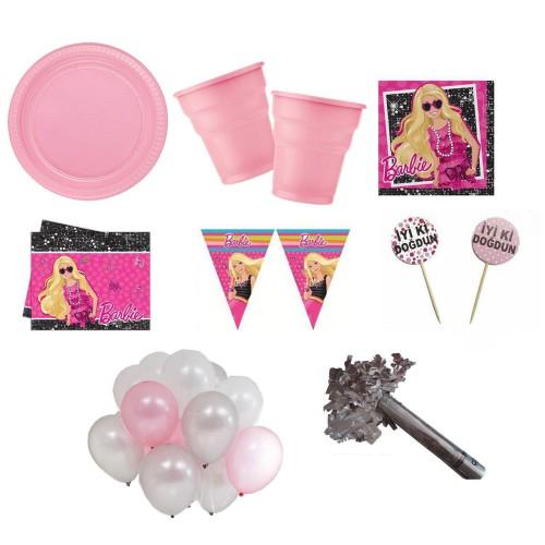 Barbie Parti Malzemeleri Seti Doğum Günü Süsleri 8 Kişilik