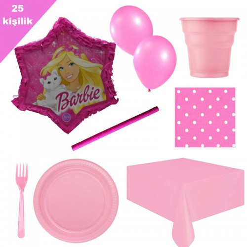 Barbie Pinyata 25 Kişilik Parti seti balon doğum günü