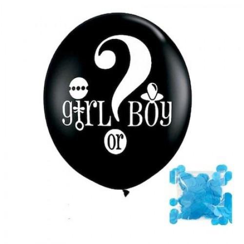 Erkek Bebek Cinsiyet Belirleme Balonu + Mavi Balon Konfetisi