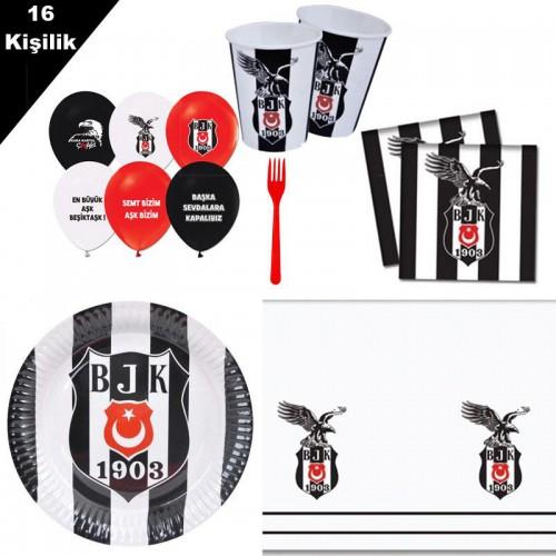 Beşiktaş 16 Kişilik 8 Parça Doğum Günü Seti malzemeleri süsleri