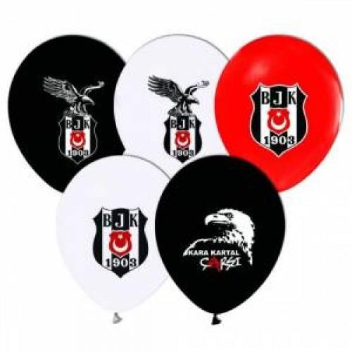 12 Adet Beşiktaş Baskılı Lisanslı Balon Doğum Günü, Helyumla Uçan