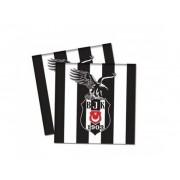 16 Adet Beşiktaş Peçete Doğum Günü Parti Peçetesi 33x33 cm Ucuz siyah beyaz