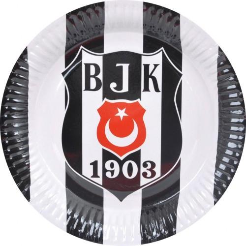 8 Adet Beşiktaş Tabak Doğum Günü Parti Tabağı 23cm Ucuz siyah beyaz