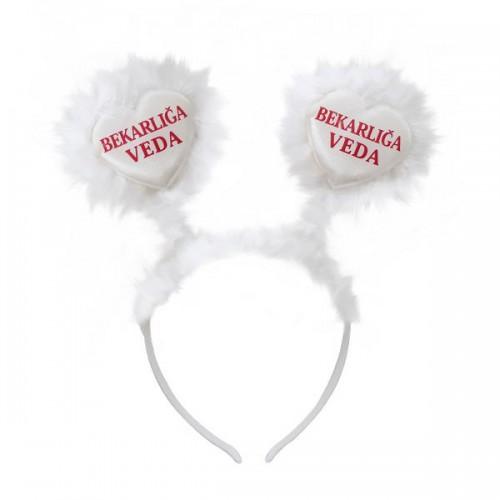 Beyaz Bekarlığa Veda Yazılı Kalpli Tüylü Taç Bride To Be Partisi