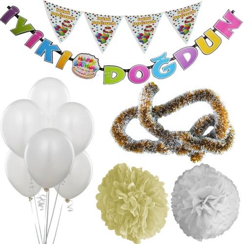 Beyaz Kız Çocuk (Bebek) Doğum Günü Parti Süsleri Malzeme Seti