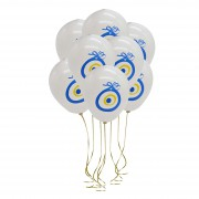 Beyaz Nazar Boncuklu Balon 100 lü Nazar Boncuğu Baskılı Balon