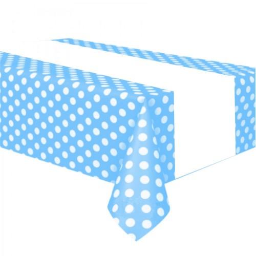 Beyaz Puantiyeli Açık Mavi Masa Örtüsü 1.20x1.80 Doğum Günü Parti