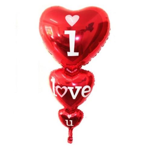 Büyük I Love You Kalpli Kırmızı Balon Helyumla Uçan