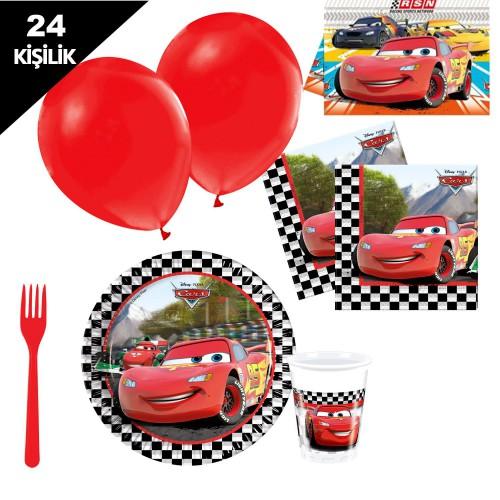 Cars, şimşek mc queen, 24 Kişilik Doğum Günü Parti Seti malzemeleri paketi