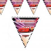 Cars Üçgen Bayrak Flama 2.2 Metre Doğum Günü Flaması