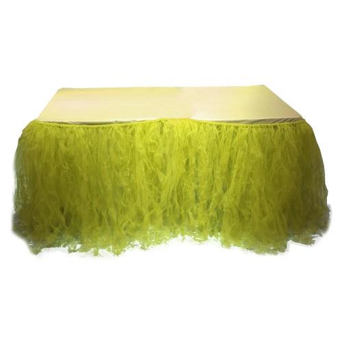 Civciv Sarısı Masa Tütü Eteği, Masa Süsleme Örtüsü İçin Tül