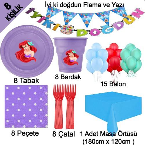 Deniz Kızı Ariel Temalı Doğum Günü Konsept Parti Malzemeleri Seti