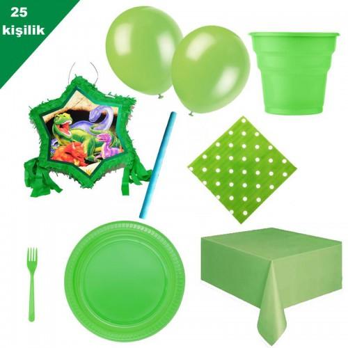 Dinozor Dinazor Pinyata 25 Kişilik Yeşil Parti seti balon doğum günü