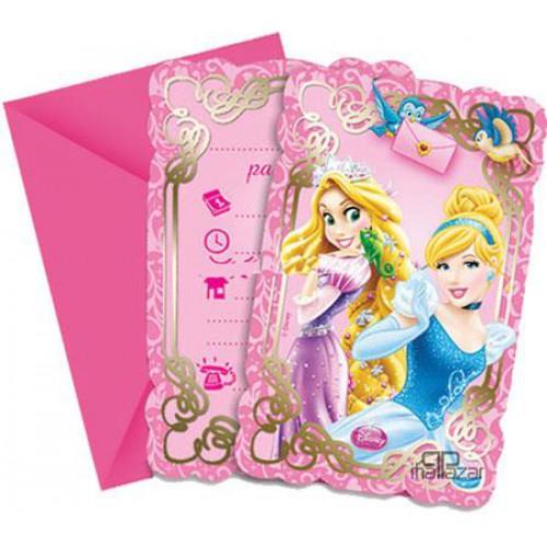 Disney Prenses 6 Davetiye+6 Zarf İngilizce Doğum Günü Parti Kartı