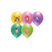 12 li Prensesler Baskılı Karışık Balon Doğum Günü, Helyumla Uçan