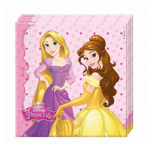 20 Adet Pembe Disney Prensesler Doğum Günü Parti Konsept Peçetesi