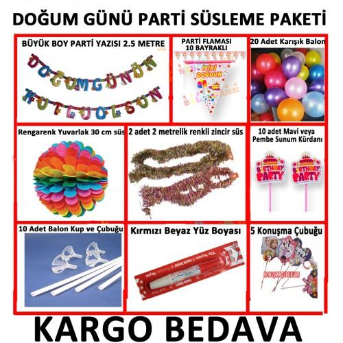 Pembe Kız Doğum Günü Parti Malzeme Paketi+20 Karışık Balon 14 Parça Set